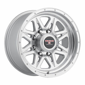 16x8 5 Level 8 Strike 8 Matte Silver W Machined Lip Wheels 8x170 6mm Set Of 4