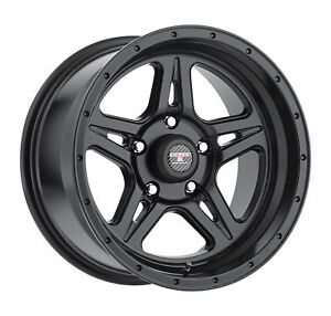 17x9 Level 8 Strike 5 Matte Black Wheels 5x5 12mm Set Of 4