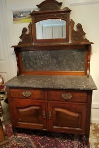 C 1860 Victorian Walnut Highly Carved Marble Top Mirrored Server
