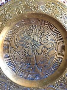 Antique Chinese Bronze Dragon Plaque Plate Bowl Xuande Ming Dragons Mark Relief