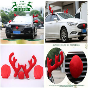 Red Stylish Antlers Nose W Mirror Cover Car Vehicle Costume Christmas Decor Tool