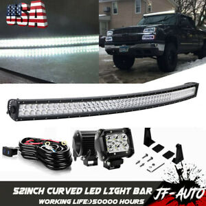 For 1989 98 Chevy C k Truck Upper Roof Mount 52 Curved Led Light Bars Combo Kit