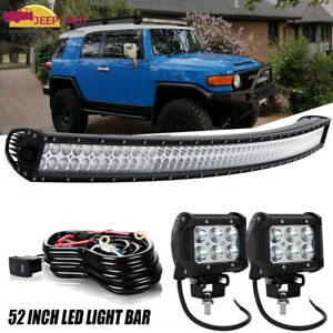 52inch Curved Led Offroad Light Bar For 07 14 Toyota Fj Cruiser Upper Roof 50