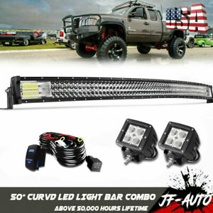 52inch 300w Curved Led Light Bar For Jeep Cherokee Xj 1984 2001 Upper Roof Mount