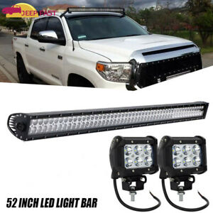 Fits Toyota Tundra Upper Roof Mount 52inch Curved Led Light Bar Combo 2000 2006