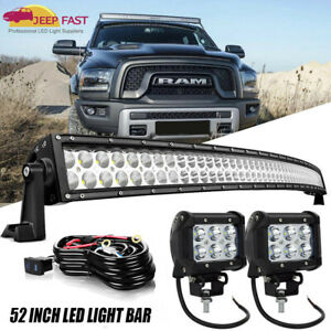 52 Curved Led Light Bars Combo Kit Roof Mount For 99 04 Jeep Grand Cherokee Wj