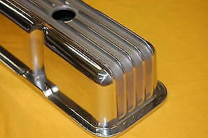 Sbc Small Block Chevy Polished Aluminum Valve Covers Tall Finned 305