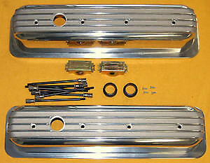Sbc Small Block Chevy Aluminum Valve Covers Short Finned Center Bolt Vortec