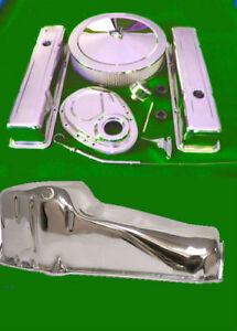 Sbc Small Block Chevy Chrome Dress Up Valve Covers Timing Air Cleaner Oil Pan
