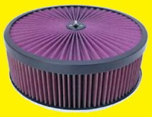 14x4 Breather Washable Air Filter Cleaner Super Flow Black Dominator Base