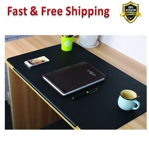 Desk Pads Artificial Leather Laptop Mat Large Black Rectangular Fixation Lip New