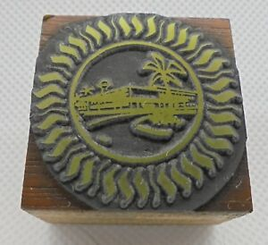 Vintage Printing Letterpress Printers Block Sun With Palm Tree Building
