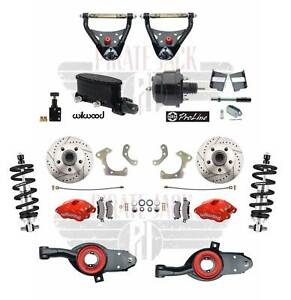 1965 68 Chevy Impala Disc Brake Kit Red Wilwood Calipers Control Arms Coil Overs