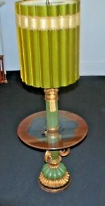 Antique Side Table Glass Floor Lamp W Gilt Victorian Style Shade Gold Leafing