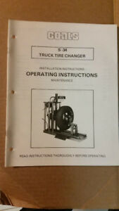 Used Coats S 34 Truck Tire Changer Installion Operation Maintenance Manual