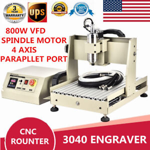 800w Vfd 4 Axis Cnc Router 3040 Engraver 3d Engraving Metal wood Milling Machine