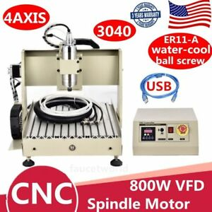 Usb 4 Axis 3040 Cnc Router Engraver Metal Cutter Engraving Er11 Machine 800w Vfd