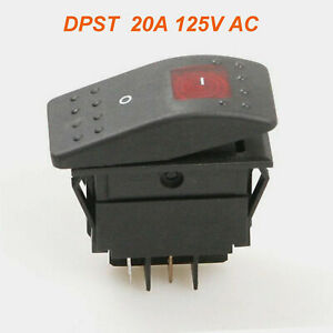 1pc Red Light Dpst Off on Boat Car Rocker Switch Rk1 06 Double Pole Single Throw
