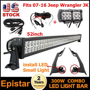 Fits Mount Windshield Bracket 07 16 Jeep Jk 52 Led Light Bar 2x18w 2x Wires