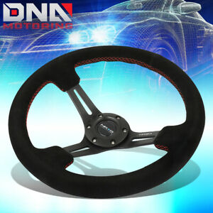 Nrg Rst 018s Rs 350mm 3 Deep Dish Red Stitch Black Suede Grip Steering Wheel