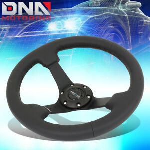 Nrg Rst 033bk r 330mm 3 Deep Dish Spokes Black Leather Racing Steering Wheel