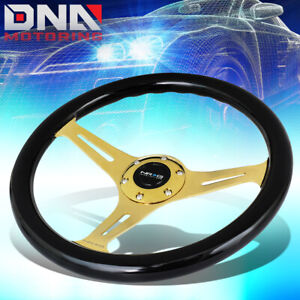 Nrg St 015cg Bk 350mm Chrome Gold Spoke Black Wood Grain Grip Steering Wheel