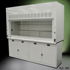 8 Ft Chemical Laboratory Fume Hood W Two Storage Cabinets In Stock