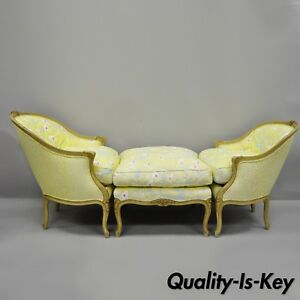 French Louis Xv Style Duchesse Brisee Chaise Pair Bergere Chairs
