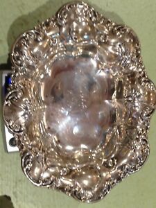 Sterling Silver Heavy Repousse Calling Card Tray 3 86 Oz Reduced