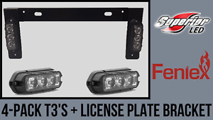 Feniex T3 4 Pack W License Plate Bracket Amber Red Led Grille Grill Light Vfd