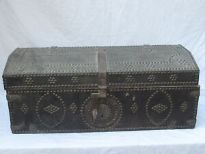 Antique Spanish Leather Trunk With Studs Great Lock Plate And Hardware 18th C