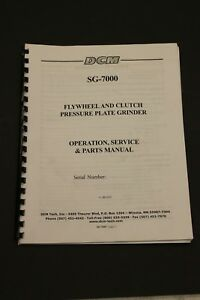 Dcm Sg 7000 Flywheel Clutch Plate Grinder Instruction Manual And Parts List