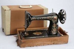 Wow Antique 1921 Singer Model 66 Redeye Treadle Sewing Machine Head With Case