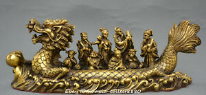 Collect Chinsee Fengshui Old Bronze Dragon Boat Eight Immortals Cross Sea Statue