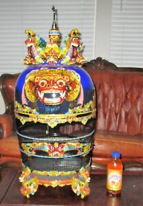 Ornate Large Chinese Bali Bird Cage Carved Garuda Sculpture Enamel Lacquer Wood