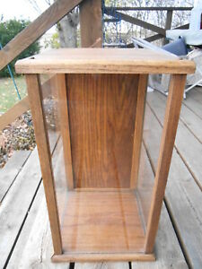 Vintage Oak glass Tabletop desk Trophy display Case W Hinged Door