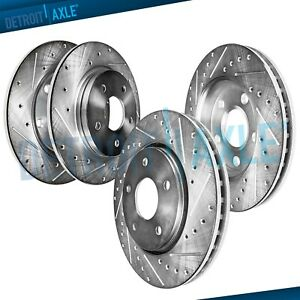All 4 Front Rear Drilled Slotted Brake Rotors For Acura Tsx Honda Accord