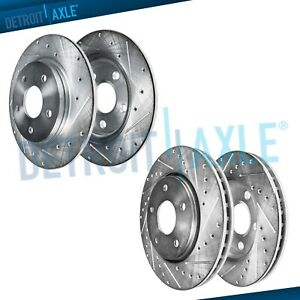 4 Front Rear Drilled Slotted Brake Rotor For 2001 2006 Mdx 2003 2008 Pilot