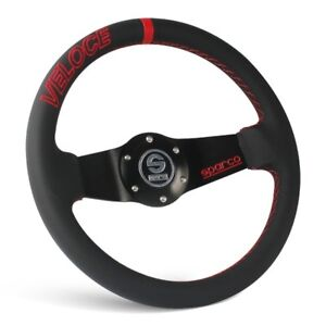 320mm Black Leather Red Stitching Dished Sport Steering Wheel Sparco Horn Button