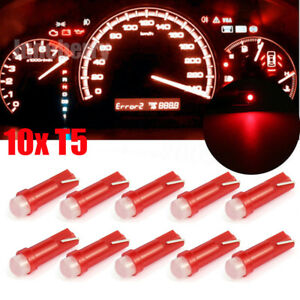 10pcs Red T5 Led Smd Car Interior Gauge Cluster Instrument Dashboard Lights 12v