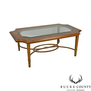 Maitland Smith Regency Style Satin Wood Inlaid Glass Top Coffee Table