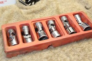 Snap on 3 8 Sae Standard Deep Swivel Socket 6pc Set 7 16 3 4