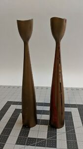Vintage Danish Modern Candle Sticks Made In Denmark Gold And Red