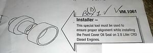2005 2006 Jeep Liberty 2 8l Diesel Engine Front Cover Oil Seal Special Tools