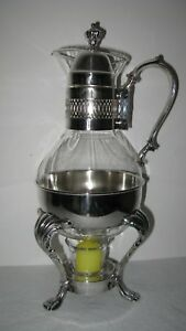 Vintage Wm Rogers Silver Co Silver Plated Coffee Warmer Corning Carafe