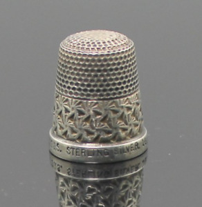 Solid Sterling Silver Antique Sewing Thimble The Spa H G S 16 England Made 1930