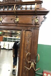 Antique Wood Hall Tree Umbrella Stand Coat Hat Rack With Drawer