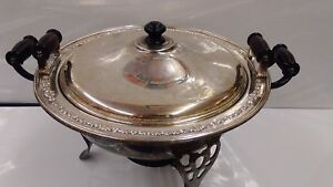 Large 16 Silver Plated Soup Chafing Tureen Dish 5 Piece With Heater