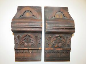 Antique Pair 2 Corbels Ornate Carved Wood Gothic Architectural Salvage
