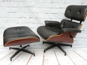 Vtg Authentic Herman Miller Eames Lounge Chair Ottoman Cherry Black Leather